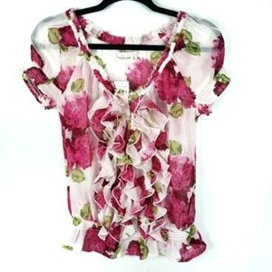Abercrombie & Fitch sheer ruffle floral blouse